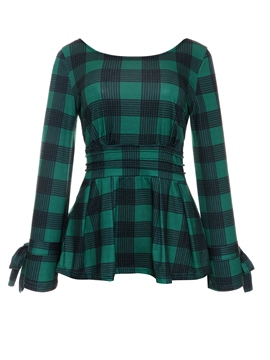 Ericdress Plaid Slim Backless Blouse