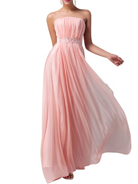 Ericdress Beautiful Strapless Chiffon Bridesmaid Dress