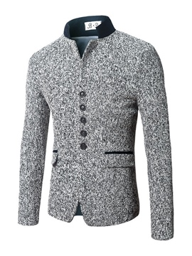 Ericdress Plain Stand Collar Single Breasted Men's Slim Jacket