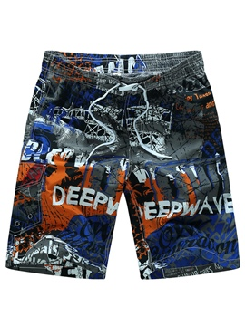 Ericdress Doodle Designed Side Pocket Men's Beach Shorts Swim Trunks