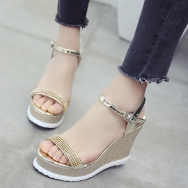 Ericdress Rhinestone Platform Plain Wedge Sandals