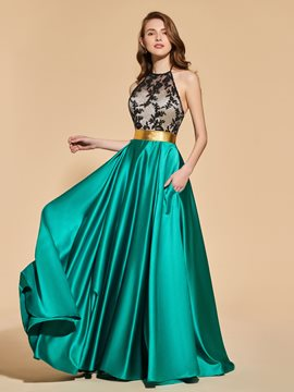 Ericdress Appliques Halter Contrast Color Backless Prom Dress