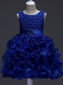 Ericdress Bowknot Girl's Layered Ball Dress With Belt