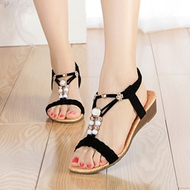Ericdress Strappy Open Toe Wedge Sandals with Beads