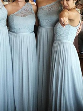 Ericdress One Shoulder Chiffon Lace Bridesmaid Dress
