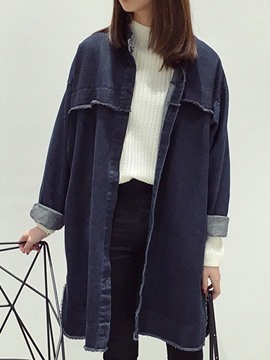 Ericdress Loose Patchwork Denim Trench Coat