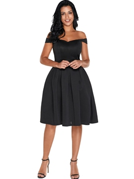 Ericdress Solid Color Off Shoulder Pleated Women's A Line Dress