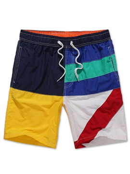 Ericdress Men's Loose Color Block Beach Board Swim Shorts