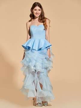 Ericdress Sheath Sweetheart Ruffles Tea Length Cocktail Dress