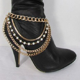 Ericdress Hot Multilayer Imitation Pearl Anklet for Women
