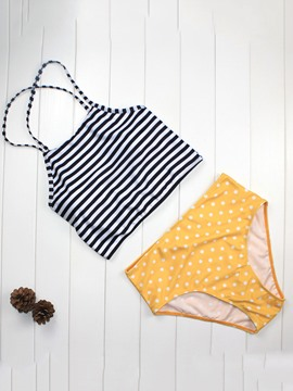 Ericdress Stripe Polka Dots Highwaist 2-Pcs Tankini Set