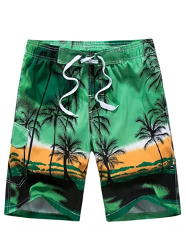 Ericdress Coconut Tree Lace Up Men's Swim Beach Board Shorts