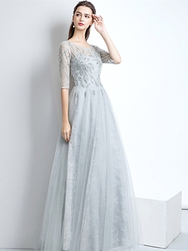 Ericdress Half Sleeve A-Line Beading Lace Prom Dress