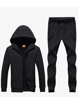 Ericdress Plain Men's Cotton Sports Suits Hoodie Pants