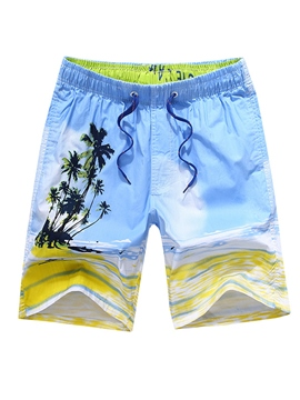Ericdress Coconut Tree Stripe Men's Beach Board Swim Shorts