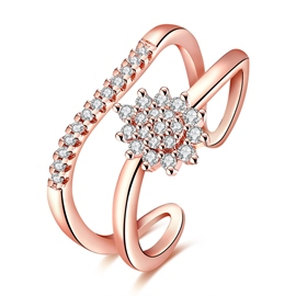 Ericdress Diamante Rose Gold Plating Open Ring