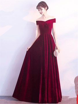 Ericdress Off The Shoulder Velvet Long A Line Evening Dress