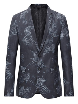 Ericdress Lapel Single Breasted Leaf Print Men's Jacket