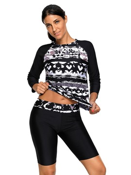 Ericdress Print Long Sleeve Conservative Tankini Set
