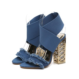 Ericdress Denim Open Toe Patchwork Plain Chunky Sandals
