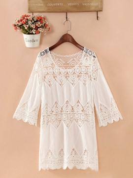 Ericdress Hollow See-Through Embroidery Lace Plain Beach Cover ups