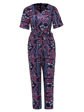 Ericdress Floral Print Color Block Women's Jumpsuit