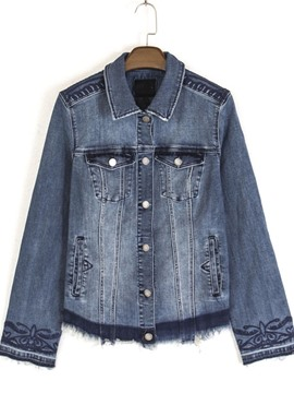 Ericdress Slim Lapel Embroidery Denim Jacket
