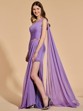 Ericdress Sheath One Shoulder Split Side Prom Dress With Beadings