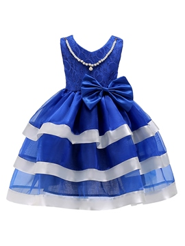 Ericdress Lace Patchwork Bowknot Girl's Layered Dress
