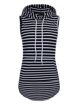 Ericdress Slim Stripe Hooded Vest