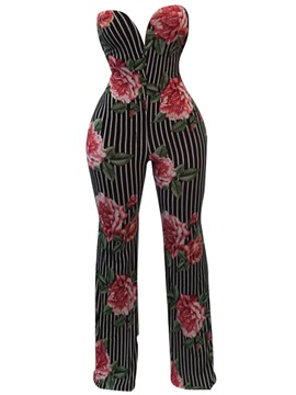 Ericdress Floral Print Backless Women's Jumpsuits