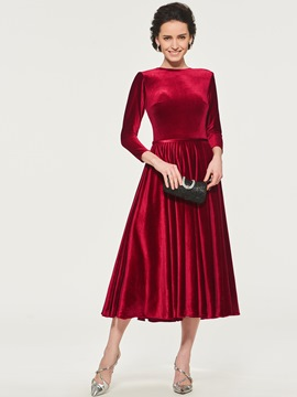 Ericdress Velvet Tea Length Mother of the Bride Dress