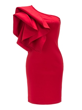 Ericdress Solid Color Ruffles Patchwork One-Shoulder Womens' Bodycon Dress