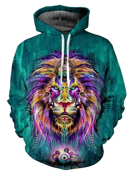 Ericdress Lion Printed Color Block Men's Loose Hoodies