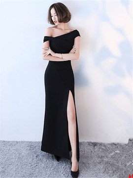 Ericdress Sheath Off The Shoulder Black Evening Dress With Side Slit