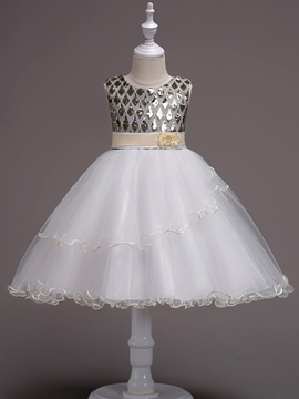 Ericdress Sequins Mesh Patchwork Ball Gown Girl's Dress