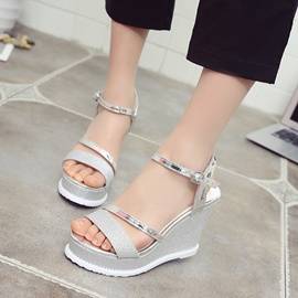 Ericdress Sequin Ankle Strap Platform Wedge Sandals