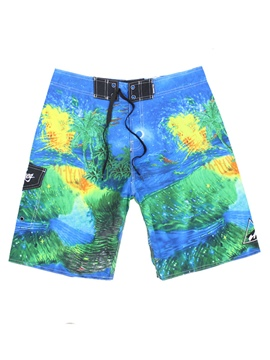 Ericdress Doodle Print Lace Up Men's Swim Trunks Beach Board Shorts