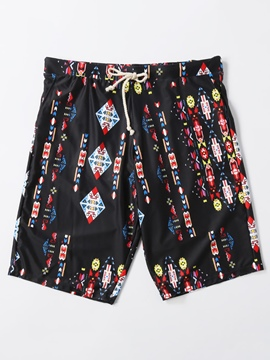 Ericdress Floral Print Men's Swim Trunks Swimwear Casual Beach Shorts With Mesh Lining
