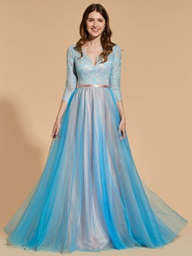 Ericdress A Line 3/4 Sleeve Lace Backless Prom Dress