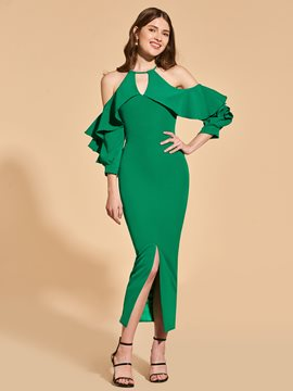 Ericdress Sheath Cold Shoulder Long Sleeve Cocktail Party Dress