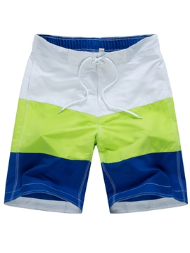 Ericdress Color Block Stripe Men's Swim Beach Board Shorts