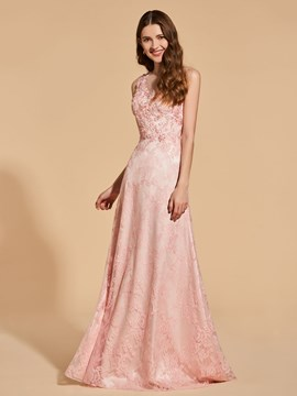 Ericdress A Line Scoop Neck Applique Lace Prom Dress With Button Back
