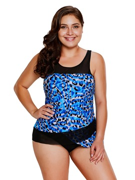 Ericdress Plus Size Leopard Pattern Tankini Set