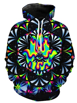 Ericdress Men's Color Block Kaleidoscopic Loose Hoodie