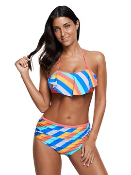 Ericdress Halter Stripe Pleated Ruffles 2-Pcs Bikini Set