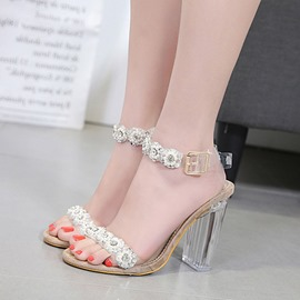 Ericdress Rhinestone&Beads Open Toe Transparent Chunky Sandals