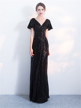 Ericdress A Line Short Sleeve Sequin Black Prom Dress
