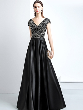 Ericdress A-Line Beading Cap Sleeve Black Prom Dress