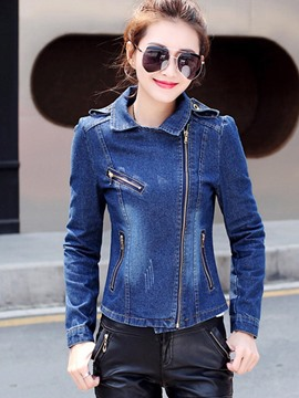 Ericdress Slim Lapel Zipper Denim Jacket
